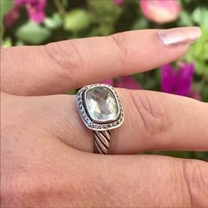 David Yurman Noblesse Ring w/ Prasiolite Diamonds